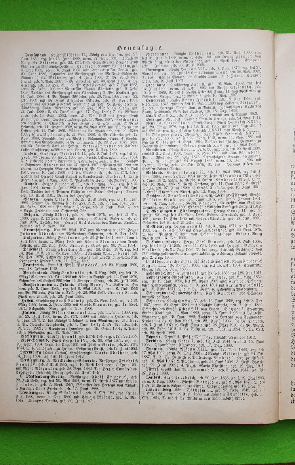 Großer Volkskalender des Lahrer hinkenden Boten - 1914 - Genealogie