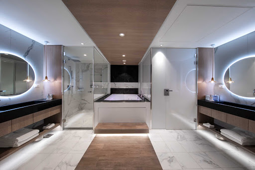 The master bathroom of the top-of-the-line Iconic Suite on Celebrity Edge.