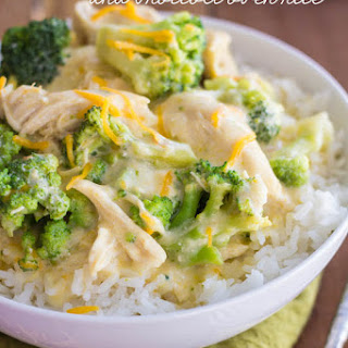 Slow Cooker Creamy Chicken and Broccoli Over Rice.