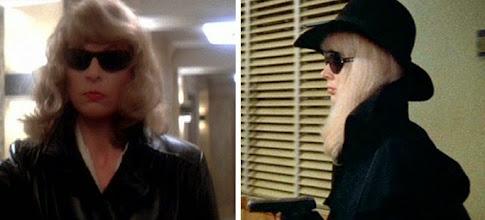 """Photo: Na esquerda, a homenagem de Brian De Palma em """"Vestida para Matar"""". Na direita, Karen Black em """"Trama Macabra"""", com o figurino que inspirou o filme de De Palma."""