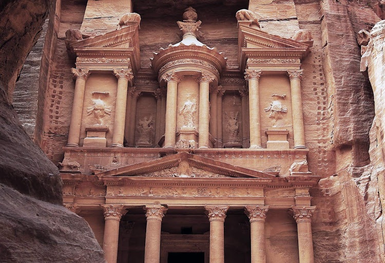Feel like Indiana Jones when you visit the Treasury Monument in Petra, Jordan,  a UNESCO World Heritage Site since 1985.