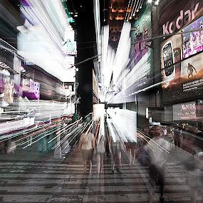 NYC Time Traveler by Edwin Esperida - City,  Street & Park  Street Scenes