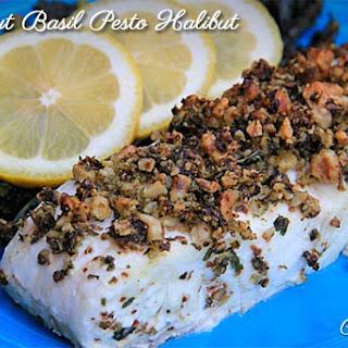 Walnut Basil Pesto Halibut