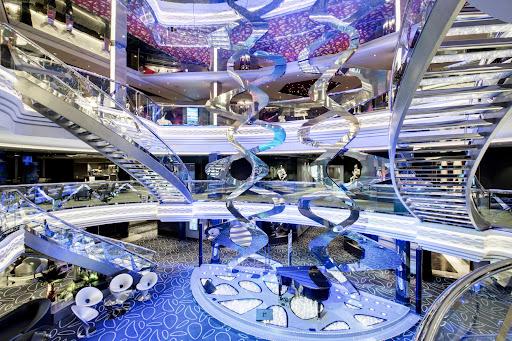 A look at the eye-catching Infinity Atrium on MSC Grandiosa.