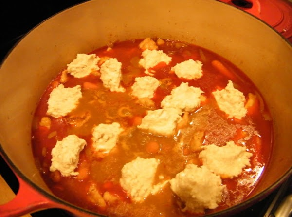 Drop batter by rounded tablespoons onto stew that has been simmering for 45 minutes....