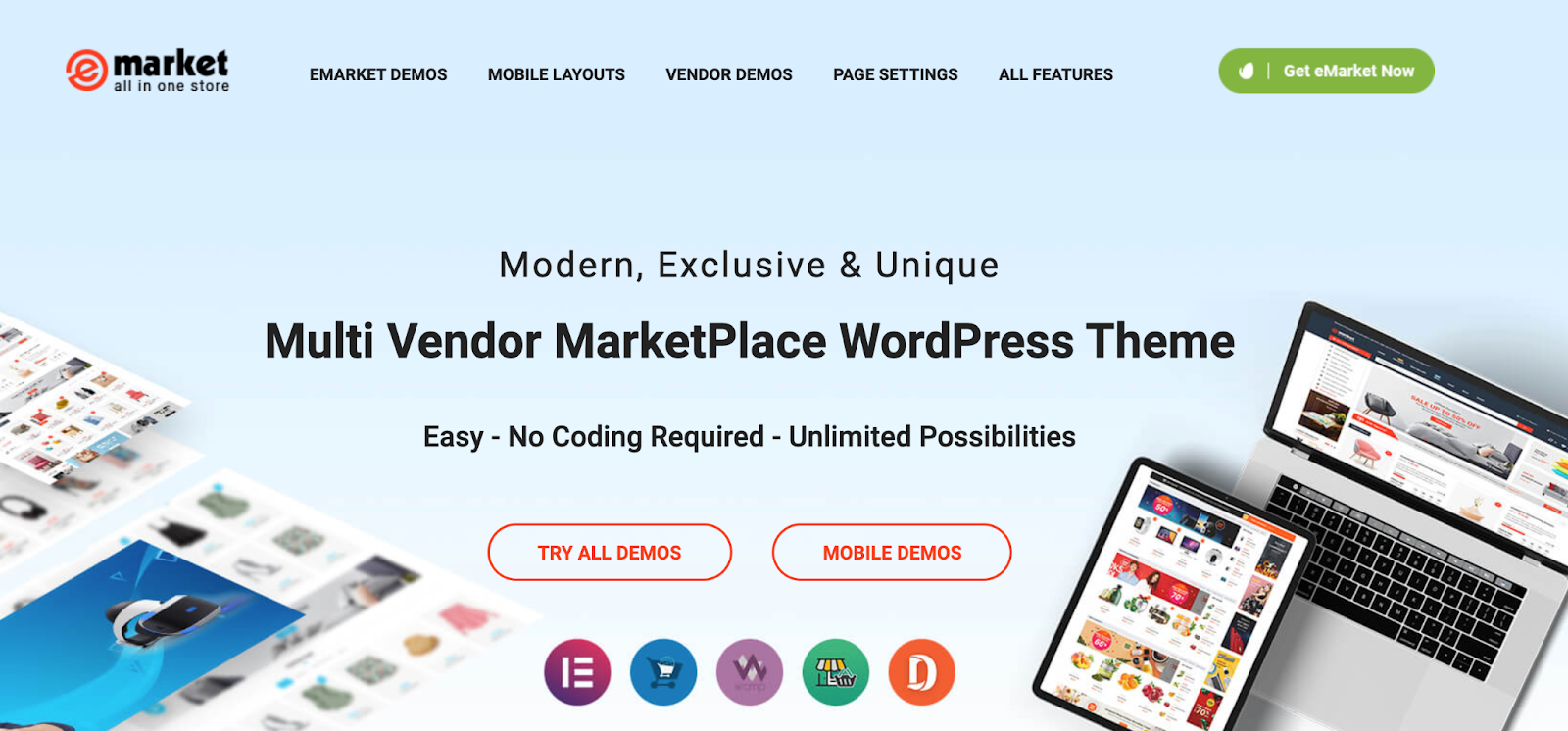 eMarket WordPress Marketplace theme homepage featuring the tagline, computer screen, and example of the the theme layout