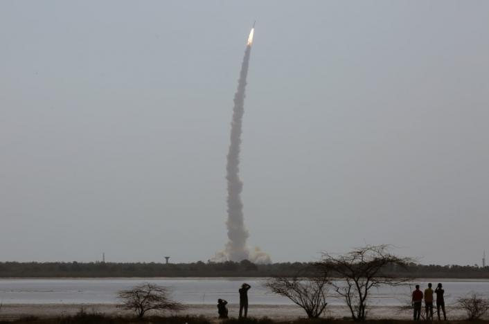 India's Polar Satellite Launch Vehicle (PSLV) C38, carrying Cartosat-2 and 30 other satellites, lifts off from the Satish Dhawan Space Centre in Sriharikota, India, June 23, 2017. REUTERS