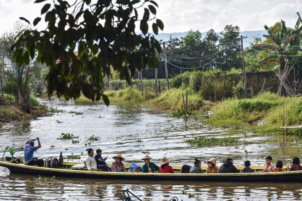 teak wood canoe inle lake