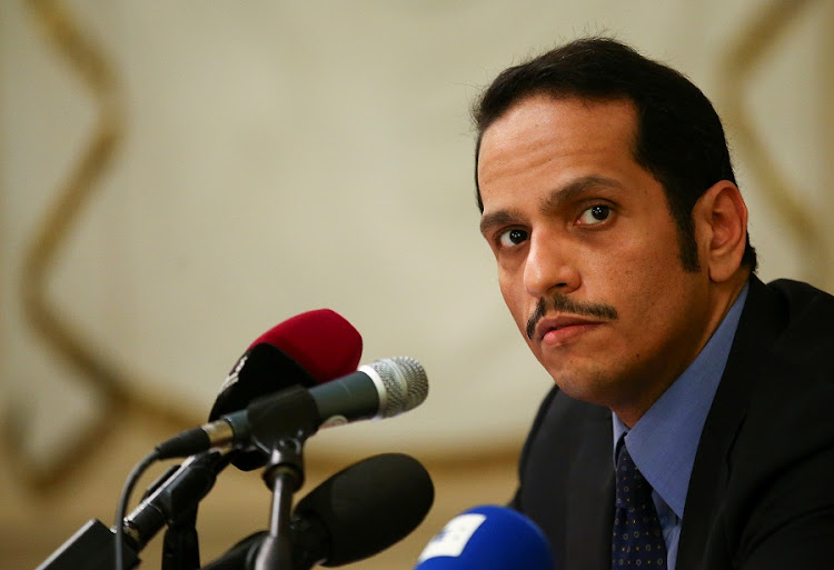 Qatari Foreign Minister Sheikh Mohammed bin Abdulrahman al-Thani attends a news conference in Rome, Italy, on Saturday. Picture: REUTERS/ALESSANDRO BIANCHI