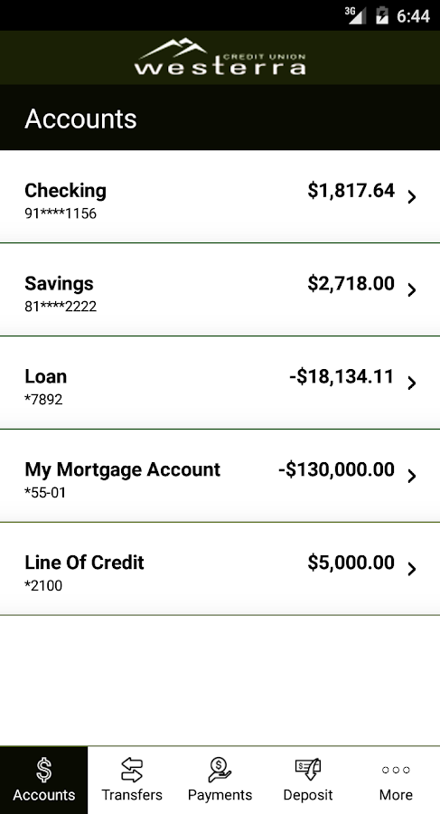 Westerra Credit Union Mobile- screenshot