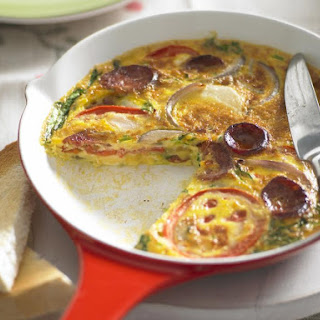 Spanish Omelette with Roasted Tomatoes and Chorizo.