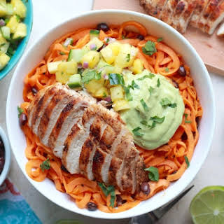 Butternut Squash Noodle Bowls with Southwest Grilled Chicken and Creamy Avocado Sauce.