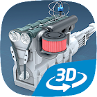 Four-stroke Otto engine educational VR 3D icon