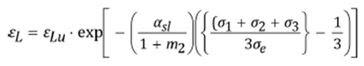 Вычисление значения предельной трехосной (объемной) относительной деформации εL (limiting triaxial strain) с учетом выбранного материала
