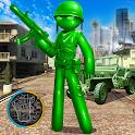 Army Men Toy Stickman Rope Hero War Shooter icon