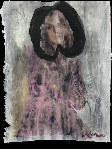 porcelaine_sophie_lormeau_serie_matiere_rose_cerveau_mind_corps_esprit_peinture_acrylique_papier_magazine_upcycling_voile_pomme_rose_pink_noir_femme_artiste_memoire_art_contemporain_singulier_emergent_collection_©_adagp_paris_2021_