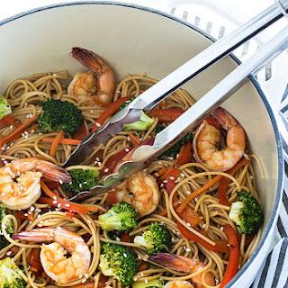Shrimp and Broccoli Lo Mein.