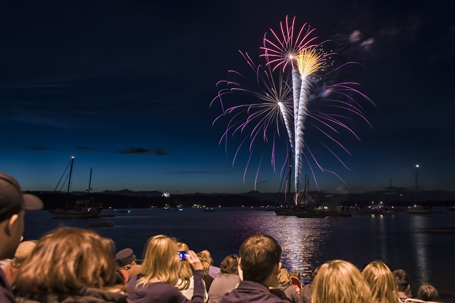 Boston Harbor Fireworks by Scott Wood - Public Holidays July 4th ( boston harbor, puget sound, boats, d610, spectators, ocean, people, olympia, washington, sky, bay, color, event, fireworks, 4th of july, nikon, budd inlett,  )