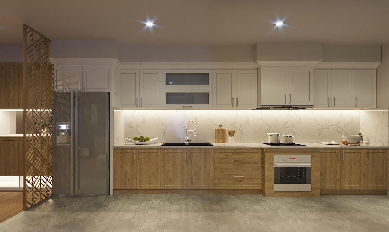 Thiết kế bếp với tủ chữ I, mặt bàn và tường ốp đá vừa đảm bảo yếu tố hiện đại, vừa tiện lợi cho gia chủ trong quá trình sử dụng.