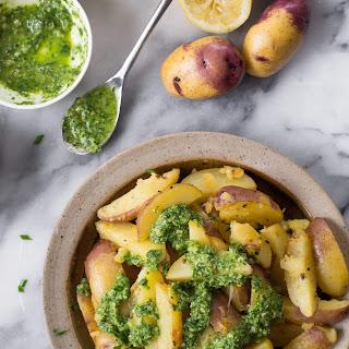 Lemon Pan-fried Potatoes With Chive Pesto.