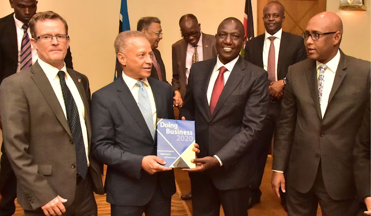 Deputy President William Ruto receives the 2020 Ease of Doing Business report from the World Bank.