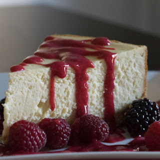 White Chocolate Cheesecake with Raspberry Coulis