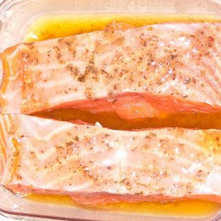 Garlic Grilled Salmon w/Peach Mango Veggies