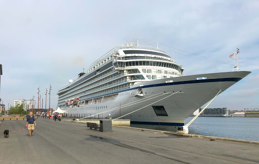 The ocean ship Viking Sun docked in Aalborg, Denmark.
