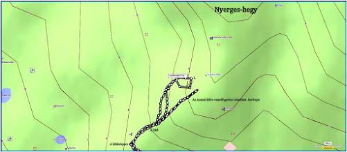 """Photo: A térképen  """"Lombhullató Erdő""""-nél lévő hurok a barlangok megközelítésének """"csiganyála"""":  1. a Macska-lyuk  2. a Szentendrei-barlang."""