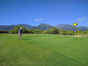 Photo: Linda and I played four days of golf.This was Day 2 at The Dunes at Maui Lani.