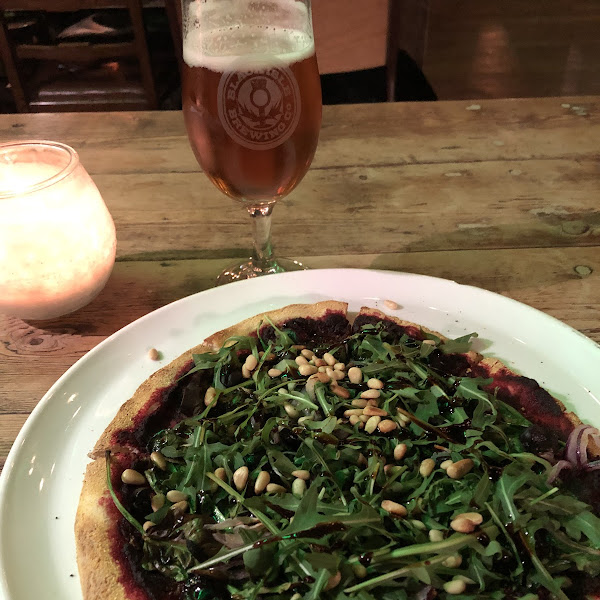 Vegan pizza and beer