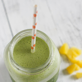 Healthy Pineapple and Baby Spinach Smoothie.