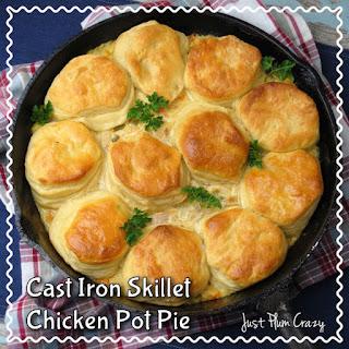 Cast Iron Skillet 4 Ingredient Chicken Pot Pie Recipe #NationalPotPieDay.