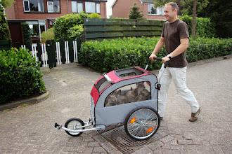 Photo: eerste keer met de fietskar op pad (bijna 6 weken)