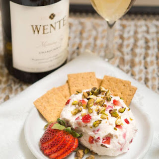 Strawberry Goat Cheese Ball with Wente Vineyards.