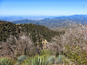 Photo: View west from Sunset Peak. The ridge in the middle is my return route. Johnston Peak (3178') rising pointed above the ridge on the left was the home of another lookout from 1934 to 1992. It is now on display at the Fairplex in Pomona.