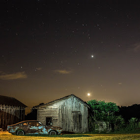 Farm Stars by Jack Goras - Landscapes Starscapes ( farm, nc, starscapes, star, starscape, , city at night, street at night, park at night, nightlife, night life, nighttime in the city )