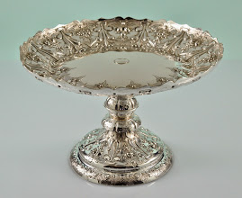 """Photo: Maker: Martin Hall & Company 1895 London  Item: Tazza  Sterling Silver Details:   5 3/4"""" Tall by 9 1/4"""" wide  Weight 22.40 Troy Ounces,  Outstanding Estate Condition, No Damage or Repairs.  Marked: See Photo"""