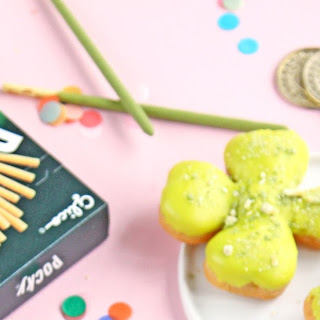 Matcha Green Tea Shamrock Donuts With Pocky