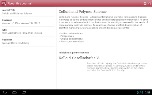 Colloid and Polymer Science- screenshot thumbnail