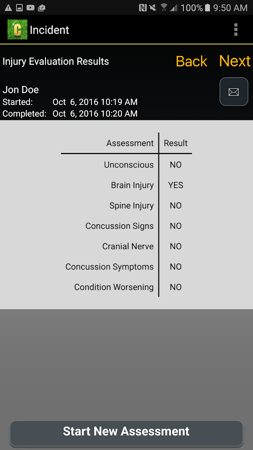 Concussion Assessment&Response- screenshot