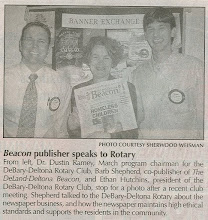 Photo: Dustin, Barb Shepherd (co-publisher of The DeLand-Deltona Beacon), President Ethan - March 19-21-2007