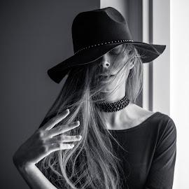 Klara by Viktor Moravčík - People Portraits of Women ( studio, model, monochrome, low key, black and white, czech, portrait )