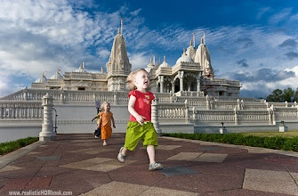 Photo: Escaping form Mandir  There is a place in Atlanta, called BAPS Shri Swaminarayan Mandir. We have visited it about a year ago, it was a pretty interesting dive into Indian culture. They did not allow to take photographs inside, so we did outside.  Now, a little quiz: do you think this is a multi-exposure (HDR) or a single shot?  Update/Answer:  This is not HDR by any meaning: single shot, and no tone mapping during post. This is a single exposure, with 2 speedlites firing on the scene: one from a camera , another from the left, with 2:1 power ratio between them . Left one was little too bright, this explains too white skin of my girl.  Also, I dialed -1 EV correction for the ambient, and +0.6EV correction for flash. this explains blue sky: the ambient was a little underexposed, exactly the way I like :)