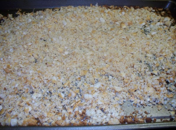 Pour the crumbs onto a cookie sheet and place in a 450° oven and...