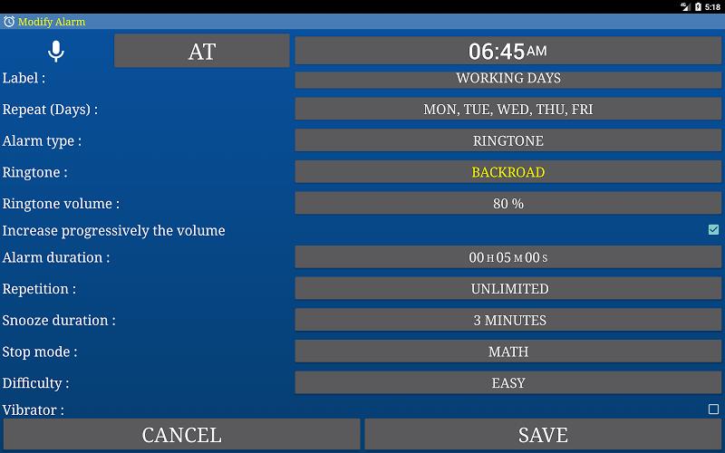 Alarm Clock & Timer & Stopwatch & Tasks & Contacts Screenshot 9