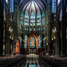 Reflection 2 by Richard Michael Lingo - Buildings & Architecture Other Interior ( reflection, church, aisle, building, architecture )
