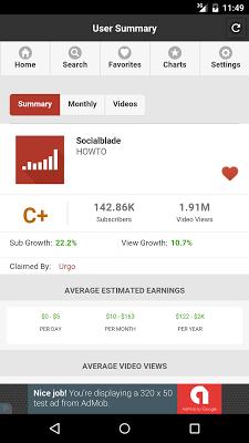 Social Blade Statistics App - screenshot