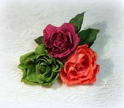 Photo: Цветы из ткани на платье - букетик разноцветных роз из шелка