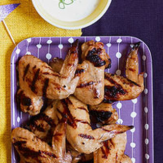 Grilled Chicken Wings with Buttermilk Dipping Sauce.